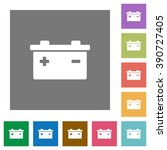 battery flat icon set on color...