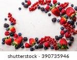 various fresh summer berries.... | Shutterstock . vector #390735946