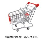 A shopping cart isolated on a white background - stock photo