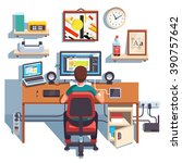 professional designer working... | Shutterstock .eps vector #390757642
