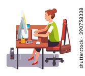 business woman working on a... | Shutterstock .eps vector #390758338