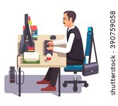 business man working on a... | Shutterstock .eps vector #390759058