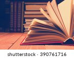 book opened in library on... | Shutterstock . vector #390761716