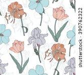 vector vintage flowers pastel...   Shutterstock .eps vector #390762322