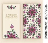 invitation or wedding card with ... | Shutterstock .eps vector #390772036