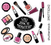 hand drawn cosmetics set. nail... | Shutterstock .eps vector #390773242