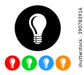 lightbulb circle icon in four... | Shutterstock . vector #390783916