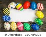 easter eggs gift card on wooden ... | Shutterstock . vector #390784378