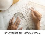 close up of architect sketching ... | Shutterstock . vector #390784912