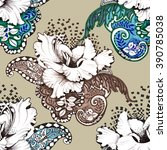 seamless floral felt tip pen... | Shutterstock . vector #390785038