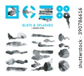 collection of black blots ink... | Shutterstock .eps vector #390786616