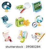 vector cartoon style icon set.... | Shutterstock .eps vector #39080284