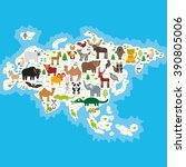 eurasia animal bison bat fox... | Shutterstock . vector #390805006