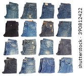collection of folded jeans... | Shutterstock . vector #390812422