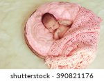 cute sleeping newborn baby in... | Shutterstock . vector #390821176