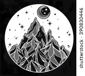 hand drawn mountain and the... | Shutterstock .eps vector #390830446