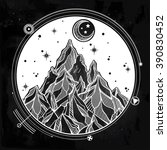 hand drawn mountain and the... | Shutterstock .eps vector #390830452