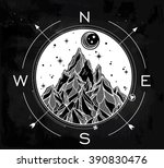 hand drawn mountain wind rose... | Shutterstock .eps vector #390830476