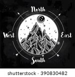 hand drawn mountain wind rose... | Shutterstock .eps vector #390830482