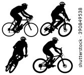 set silhouette of a cyclist... | Shutterstock . vector #390849538
