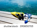 close up of flippers and... | Shutterstock . vector #390850705