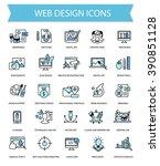 web design flat thin line... | Shutterstock .eps vector #390851128