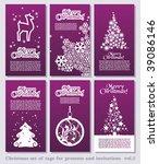 set of christmas minimal simple ... | Shutterstock .eps vector #39086146
