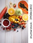 Healthy Fresh Mixed Fruits On...