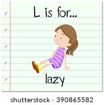 flashcard letter l is for lazy... | Shutterstock .eps vector #390865582
