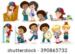 boys and girls doing different... | Shutterstock .eps vector #390865732