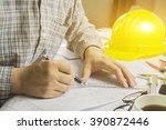 top view of architect drawing... | Shutterstock . vector #390872446