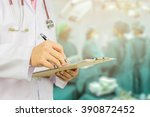 male doctor with stethoscope on ... | Shutterstock . vector #390872452