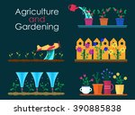 vector flat banners for garden... | Shutterstock .eps vector #390885838