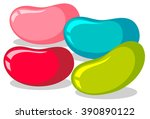 jelly beans in four colors... | Shutterstock .eps vector #390890122