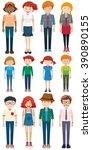 men and women standing... | Shutterstock .eps vector #390890155
