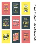 set of inspirational and... | Shutterstock .eps vector #390894952