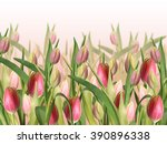 floral background. pink tulips  | Shutterstock . vector #390896338