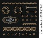 set of line art decorative... | Shutterstock .eps vector #390897448