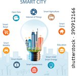 smart city concept with... | Shutterstock .eps vector #390912166