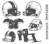 set of american football... | Shutterstock .eps vector #390918388
