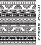 hand drawn vector boho seamless ... | Shutterstock .eps vector #390925165