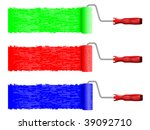 paint rollers in three colors... | Shutterstock .eps vector #39092710