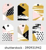 6 abstract hand drawn geometric ... | Shutterstock .eps vector #390931942