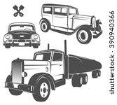 set of retro cars for emblems... | Shutterstock .eps vector #390940366