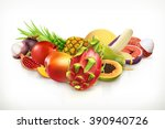 exotic fruits. juicy fruit and... | Shutterstock .eps vector #390940726