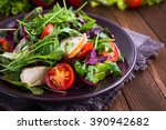 fresh salad with chicken ... | Shutterstock . vector #390942682