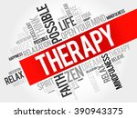 therapy word cloud concept | Shutterstock . vector #390943375