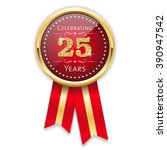 red celebrating 25 years badge  ... | Shutterstock .eps vector #390947542
