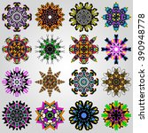colored mandala symbol vector... | Shutterstock .eps vector #390948778