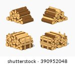 firewood stacked in piles. 3d... | Shutterstock .eps vector #390952048